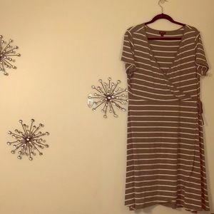 Torrid Grey & white stripe wrap style A Line dress